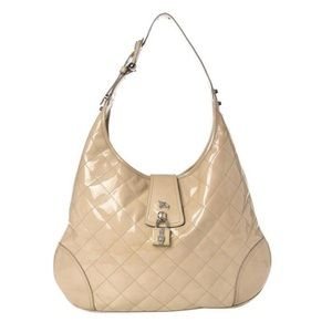 Burberry Quilted Brook Beige Patent Leather Hobo
